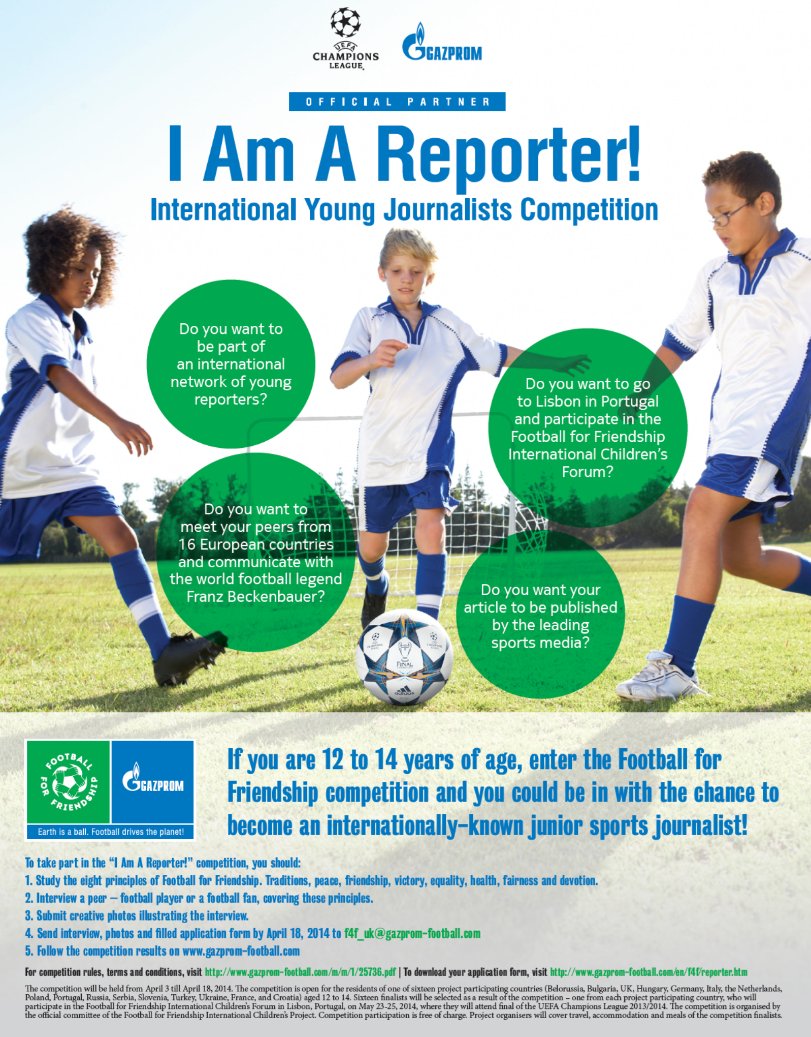 Hurry Up! You have very limited time to live your dream of becoming an internationally-known junior sports journalist!