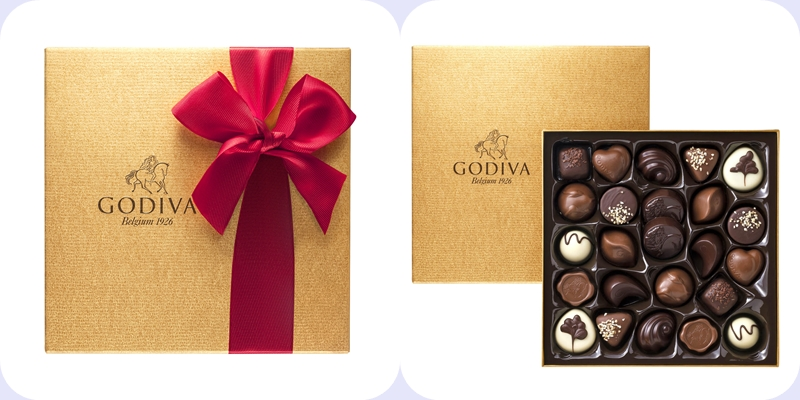 Gold chocolate gift box-horz